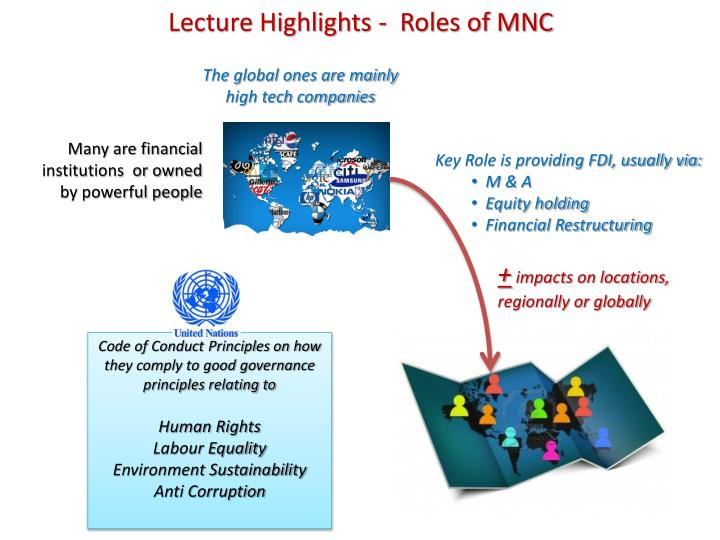 Lecture Highlights -  Roles of MNC