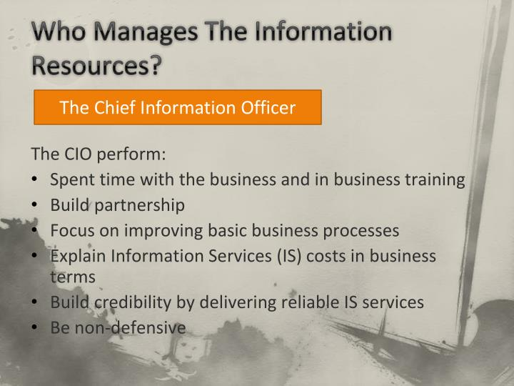 Who Manages The Information Resources?
