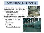 description du process