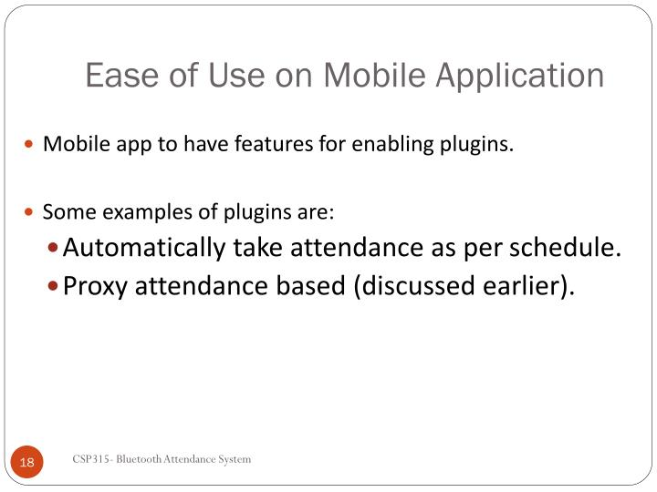Ease of Use on Mobile Application