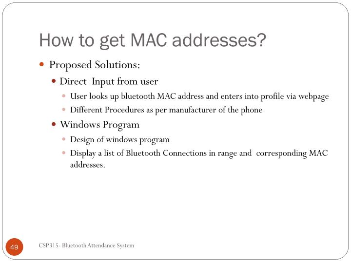 How to get MAC addresses?