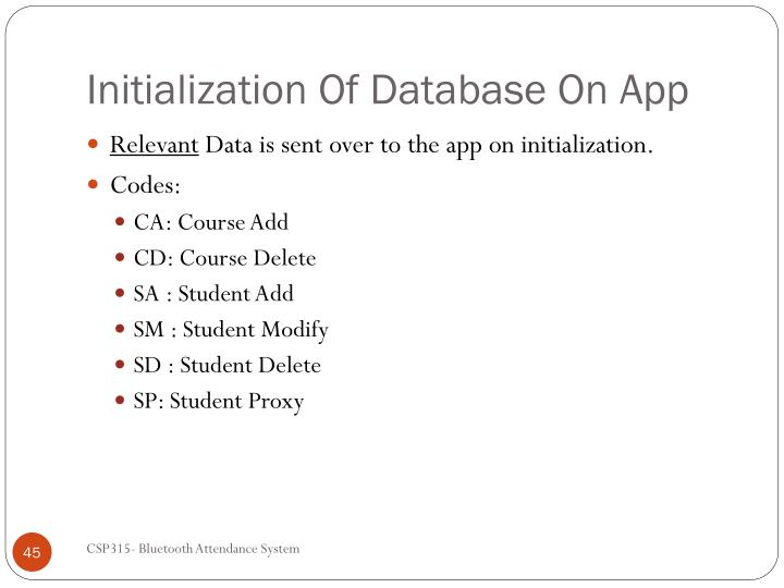 Initialization Of Database On App