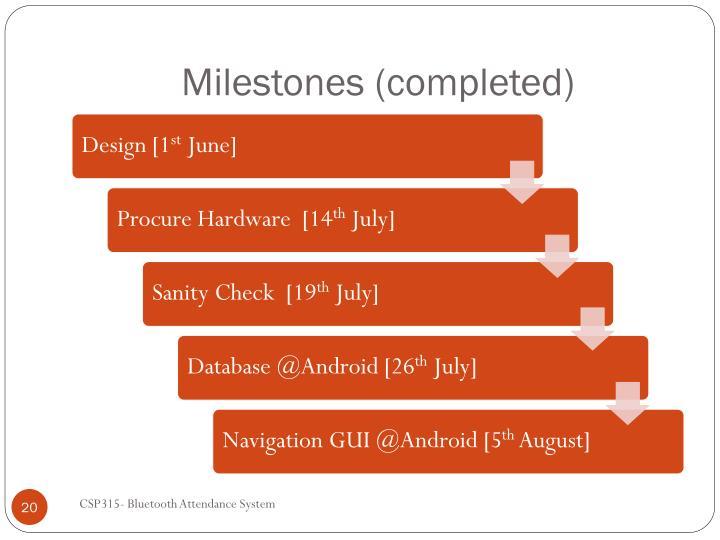 Milestones (completed)