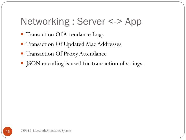 Networking : Server <-> App