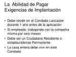 la abilidad de pagar exigencias de implantaci n