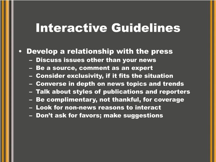 Interactive Guidelines