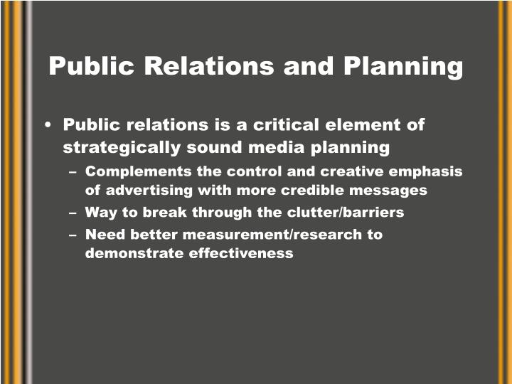 Public relations and planning