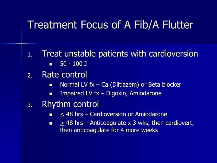 Treatment Focus of A Fib/A Flutter