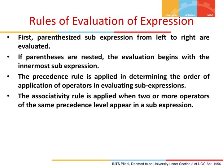Rules of Evaluation of Expression