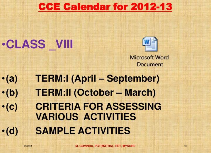 CCE Calendar for 2012-13