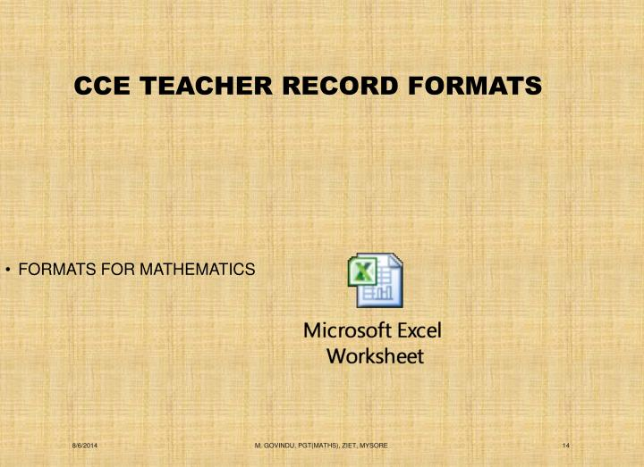 CCE TEACHER RECORD FORMATS