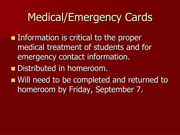 Medical/Emergency Cards