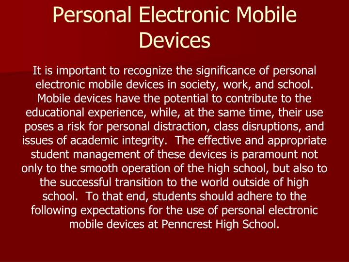 Personal Electronic Mobile Devices