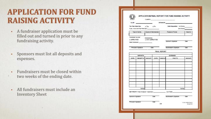 Application for Fund Raising Activity