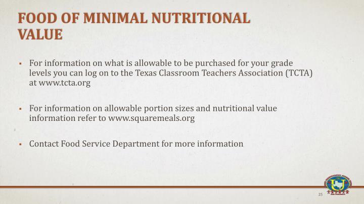 Food of Minimal Nutritional Value
