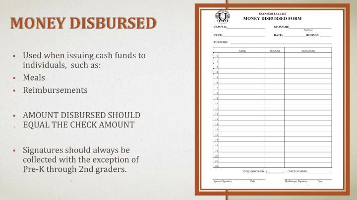 MONEY DISBURSED