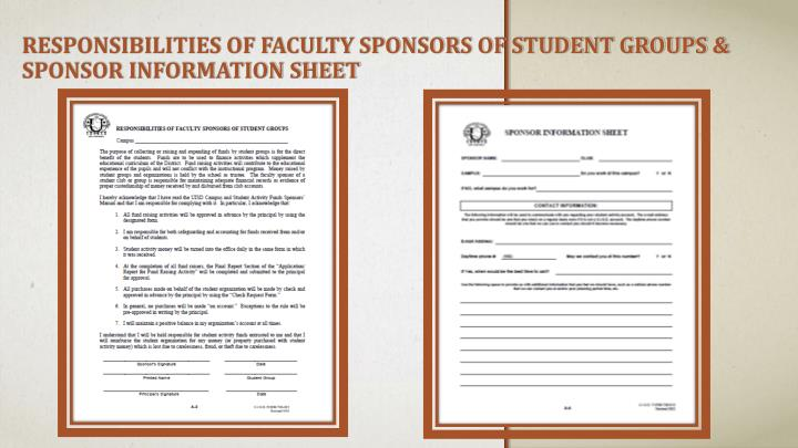 Responsibilities of Faculty Sponsors of Student Groups & Sponsor Information Sheet