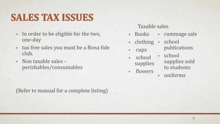 Sales Tax Issues