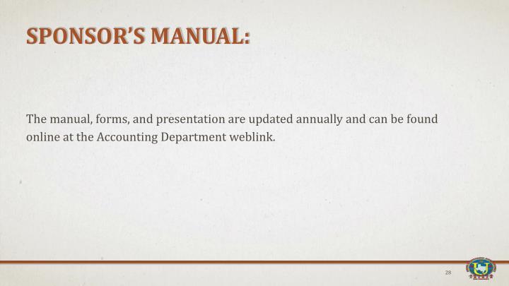 Sponsor's Manual: