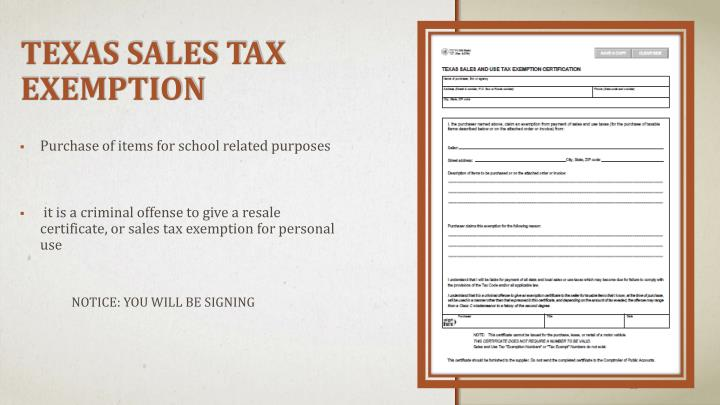 TEXAS SALES TAX EXEMPTION