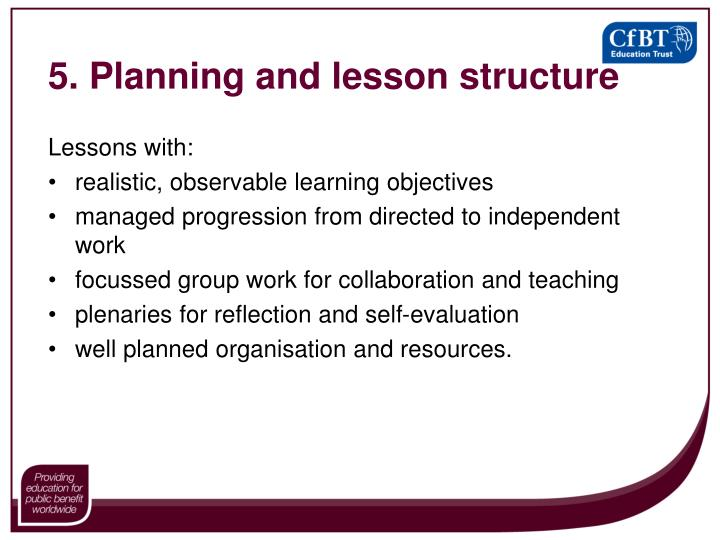 5. Planning and lesson structure