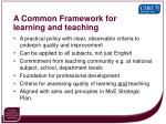 a common framework for learning and teaching