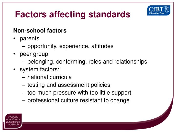 Factors affecting standards