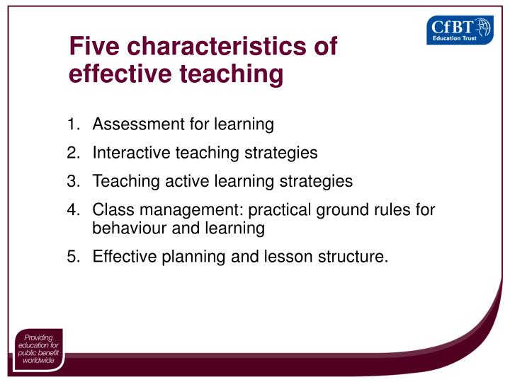 Five characteristics of effective teaching