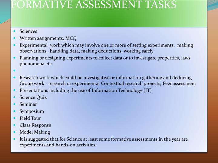 FORMATIVE ASSESSMENT TASKS