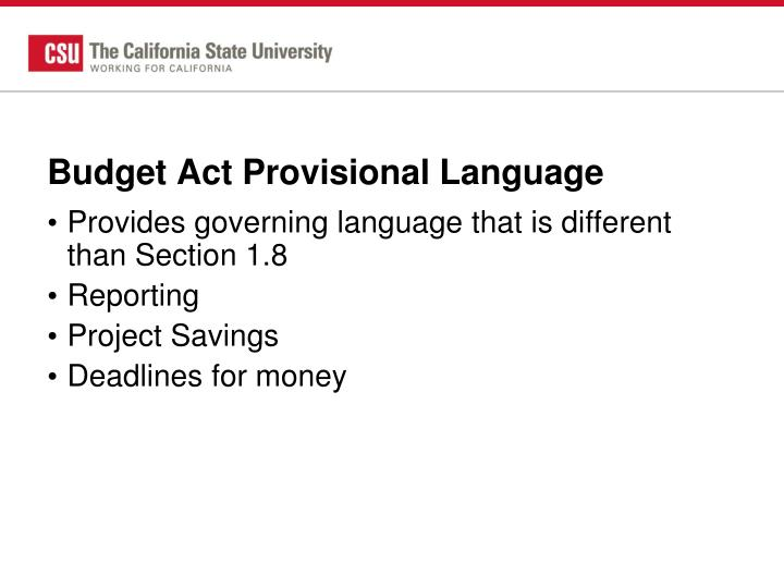 Budget Act Provisional Language