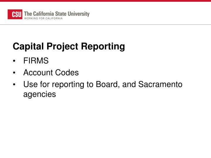 Capital Project Reporting