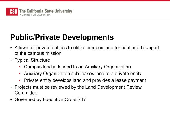 Public/Private Developments