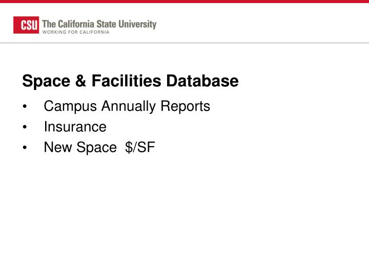 Space & Facilities Database