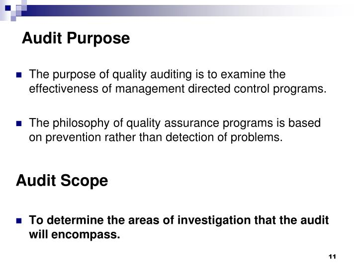 Audit Purpose