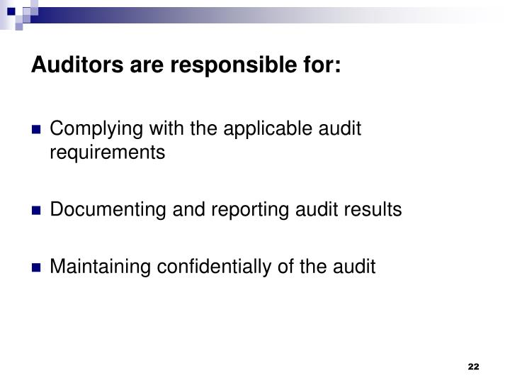 Auditors are responsible for: