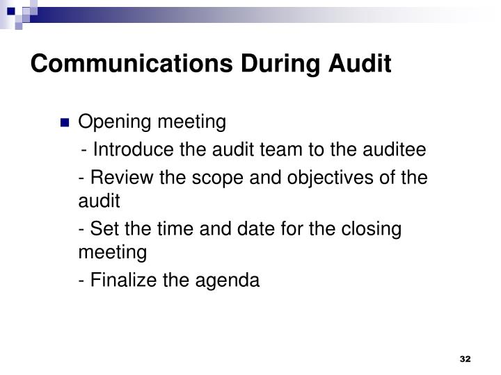 Communications During Audit