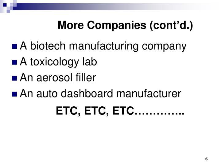 More Companies (cont'd.)
