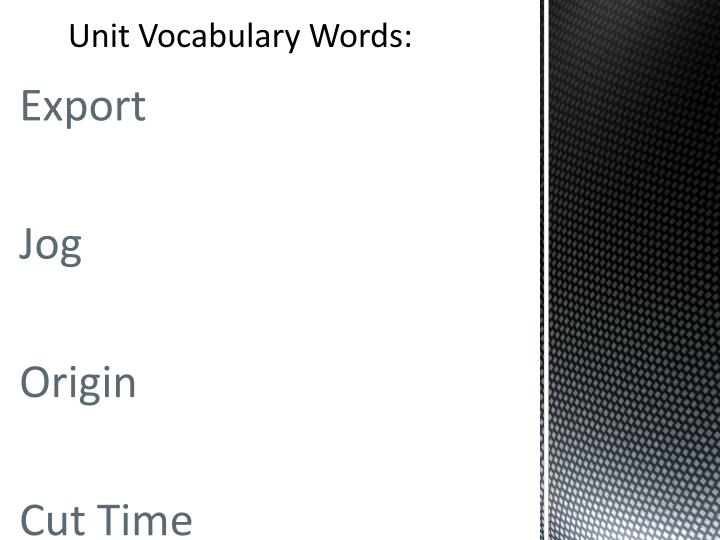 Unit Vocabulary Words: