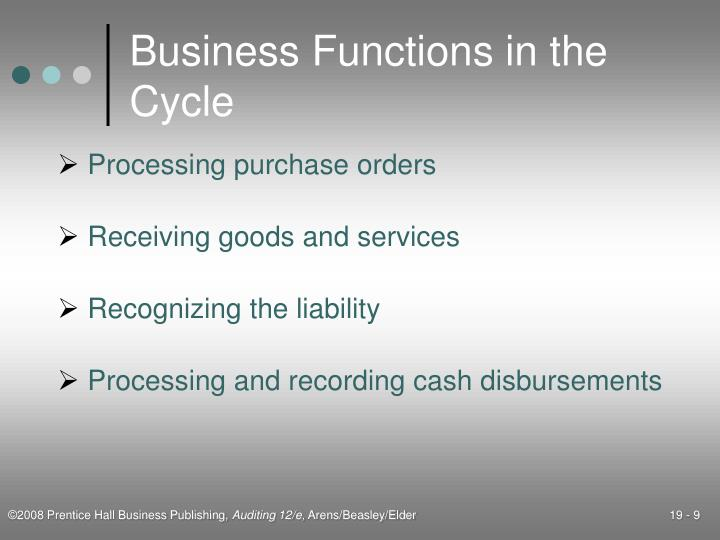 Business Functions in the Cycle