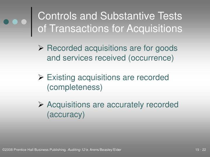 Controls and Substantive Tests