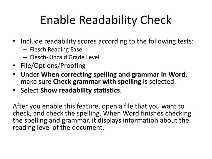 Enable Readability Check