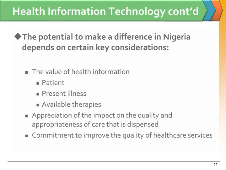 Health Information Technology cont'd
