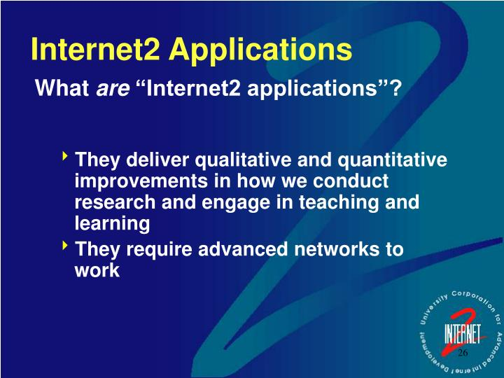 Internet2 Applications