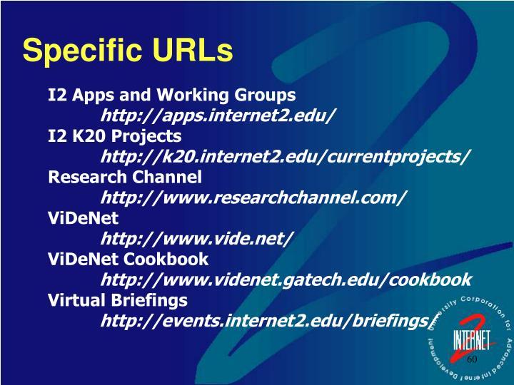 Specific URLs