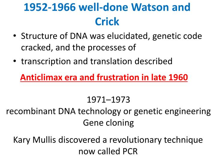1952-1966 well-done Watson and Crick