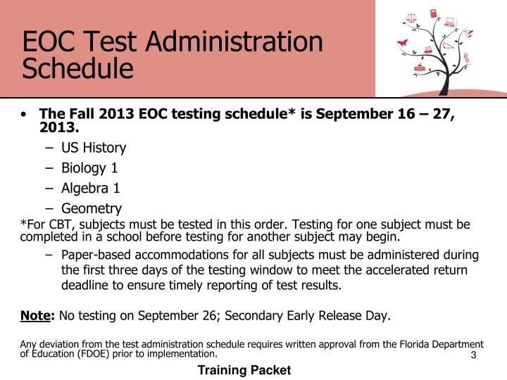 Eoc test administration schedule