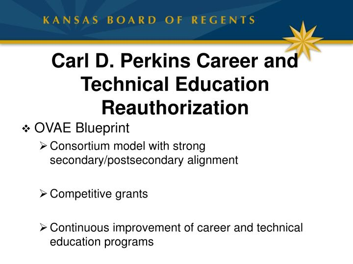 Carl d perkins career and technical education reauthorization