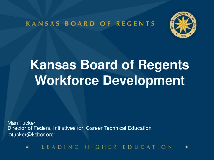 Kansas board of regents workforce development