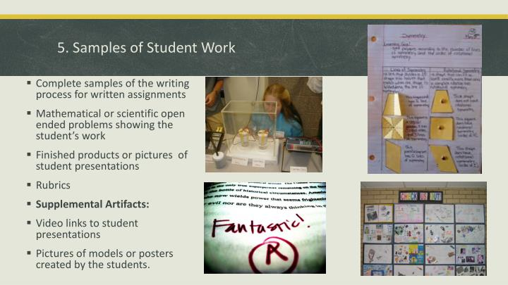 5. Samples of Student Work