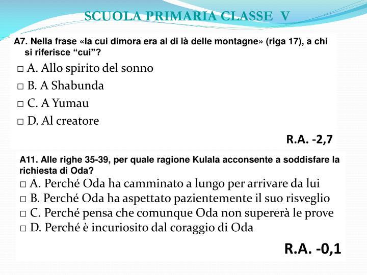 SCUOLA PRIMARIA CLASSE  V